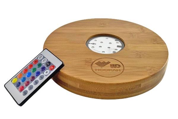 WD Hookah   Shisha Bambus Untersetzer mit LED und Fernbedienung