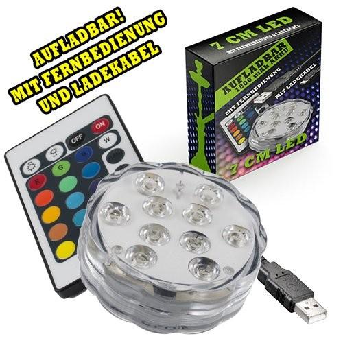 LED RGB mit Akku und Fernbedienung 7cm